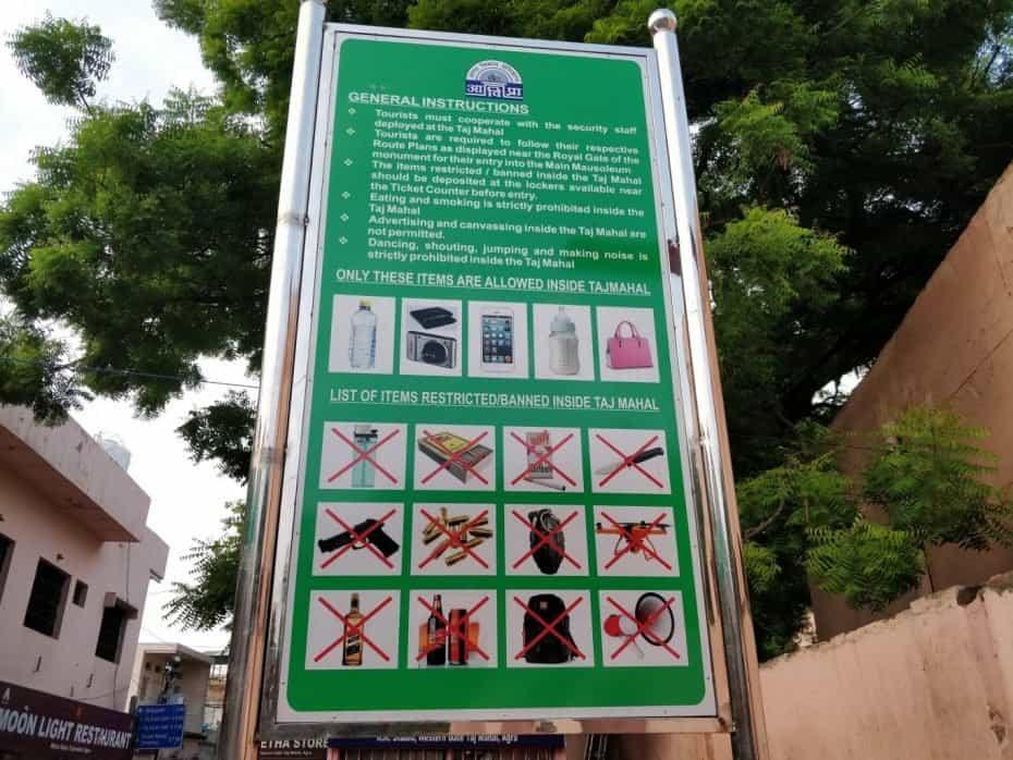 Itens proibidos no Taj, India