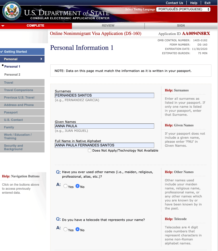 formulario ds-160 preenchimento passo a passo