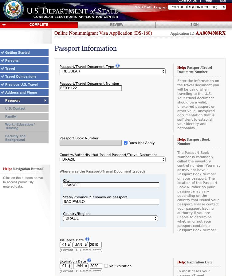 formulario ds 160 passaporte