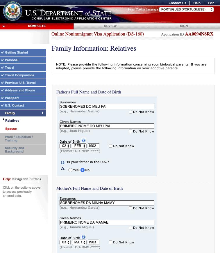 formulario ds160