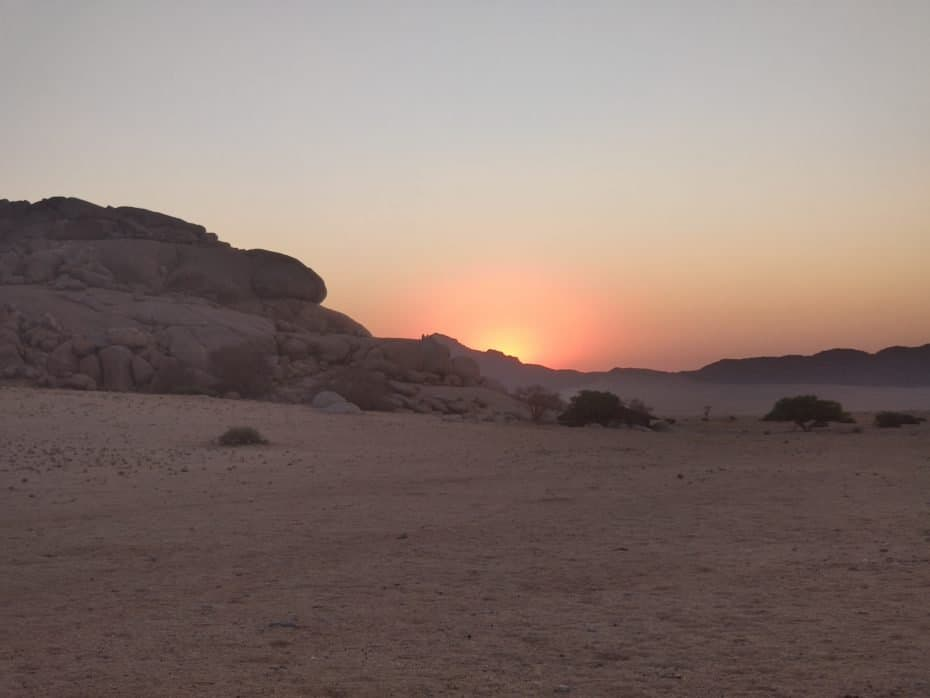 Nascer do sol na Namíbia