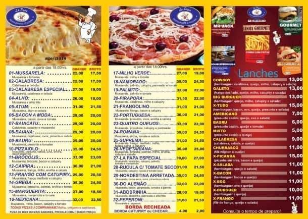 Pirapora do Bom Jesus, La Papa Restaurante e Pizzaria, Cardápio.
