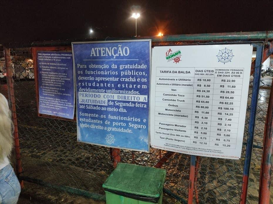 Preços da balsa em Porto Seguro