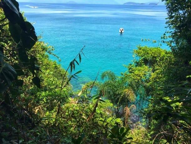 Ilha das Couves vista da trilha de acesso entre as praias de Fora e de Terra.